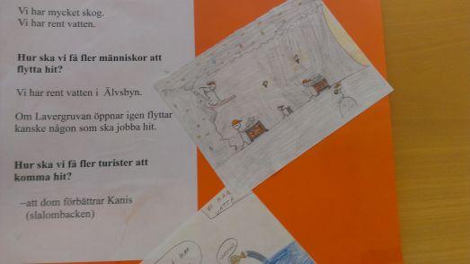 Arbetsmaterial från skolan. Notera bilden på gruvarbetarna.