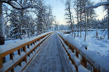 © Foto: Randolf Eriksson   Huvudspången som går hela vägen ut till forsen skottas numera vintertid av Älvsbyns kommun.