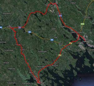 e-GRANDPRIX Nordic (Februarirundan) karta över vägsträckningen för tävlingen.