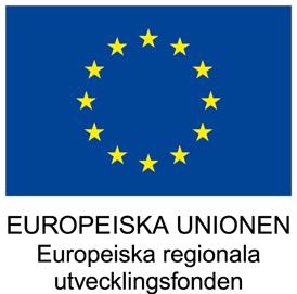 Logotyp Europeiska unionen. Europeiska regionala utvecklingsfonden