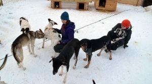Melissa Seris och Louise Mutel, i en av hundgårdarna.