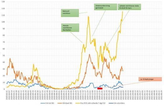 Antal covidsmittade (gul linje) och inlagda på sjukhus (orange = vårdavd, blå = IVA). Från mars 2020 till mars 2021.