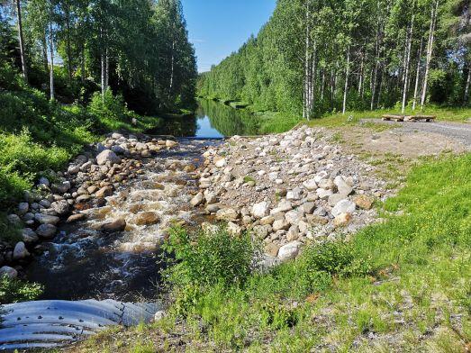 Vatten i en å flödar genom ett gap i en damm och sedan genom ett stenigt parti mot en vägtrumma. På höger sida syns en rastplats med bord och sittplatser. Bortanför dammen är ån kantad av träd.